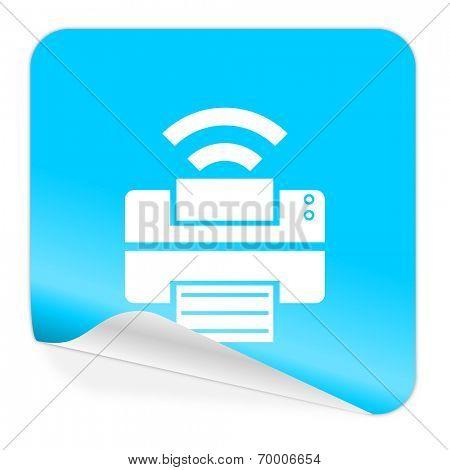 printer blue sticker icon