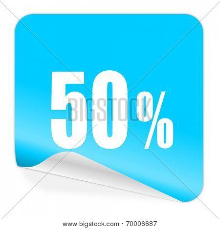 50 percent blue sticker icon
