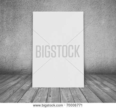 billboard in old room with concrete wall and wooden floor, gray background