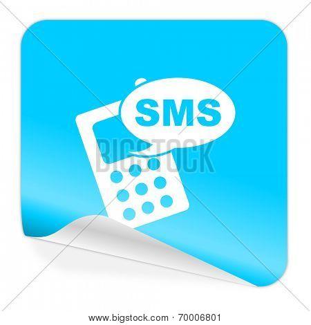 sms blue sticker icon
