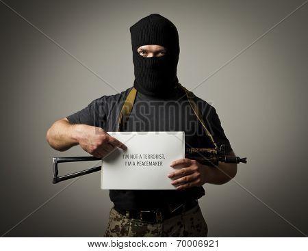 Gunman Is Holding White Paper. False Witness.