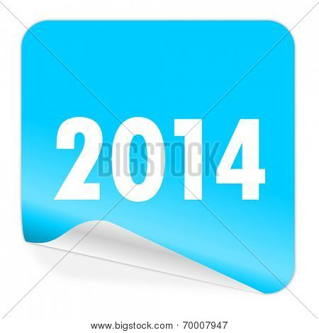 year 2014 blue sticker icon