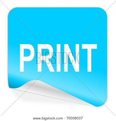 print blue sticker icon