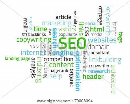 Tag Cloud Composed From Words Related To Seo