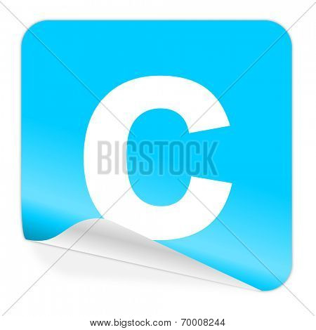 copyright blue sticker icon