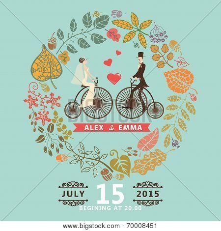 Wedding Invitation .groom,bride,retro Bicycle,autumn Wreath