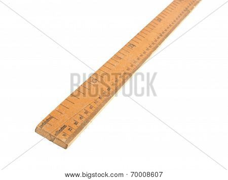 Wooden Meteric Ruler On A White Dackground
