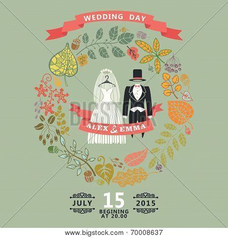 Vintage Wedding Invitation.wedding Wear ,autumn Leaves Wreath