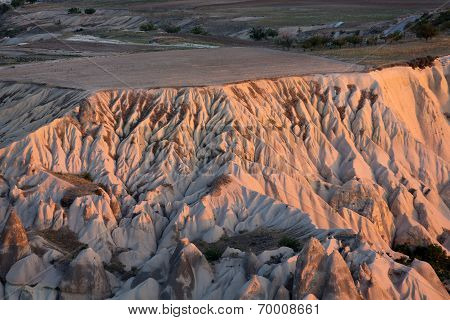 The sunrise over Goreme National Park.  Cappadocia. Turkey