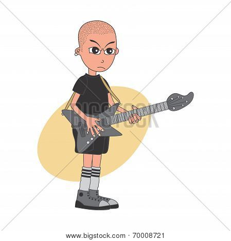 cartoon guitarist character
