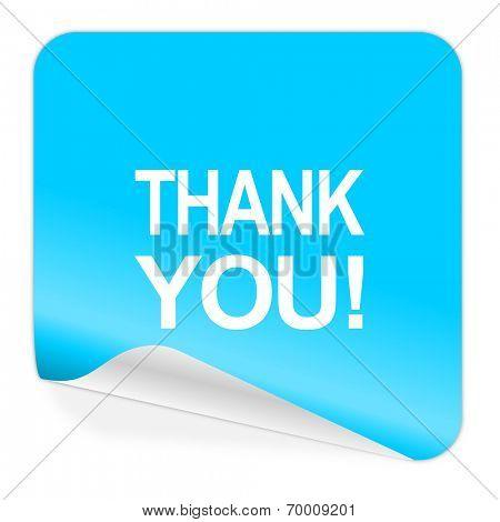 thank you blue sticker icon