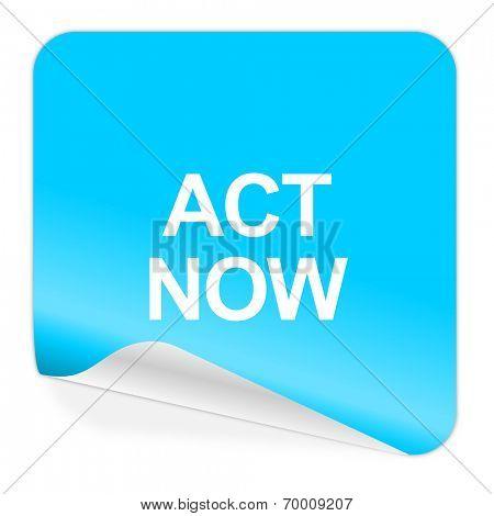 act now blue sticker icon
