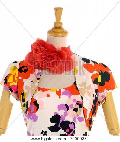fashion female clothing with scarf on mannequin