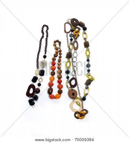 Colorful female elegant necklaces on white