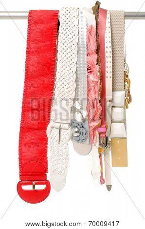 Set of woman many belts.