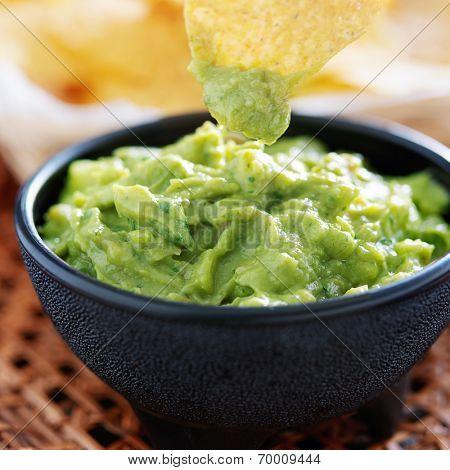 dipping tortilla chip in guacamole inside molcajete