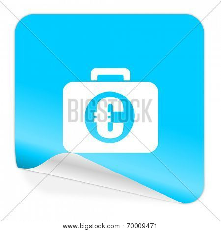 financial blue sticker icon