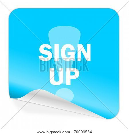 sign up blue sticker icon