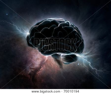 Brain inter-connected with the universe - conceptual digital art (Texture maps for 3D from NASA)