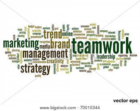 Vector eps concept or conceptual abstract teamwork and success word cloud or word cloud isolated on white background
