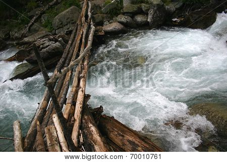 Wooden Bridge Over Mountain The River.