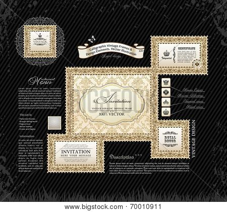 Vector calligraphic vintage frames and design ornament. Grunge black background