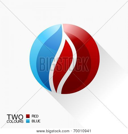 Vector symbol fire. Blue and red round glass icon with shadow isolated
