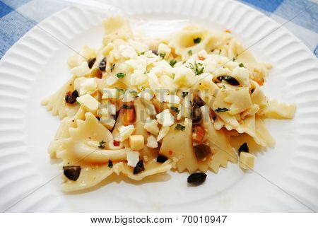 Close Up Of Bowtie Pasta With Crumbles Asiago Cheese
