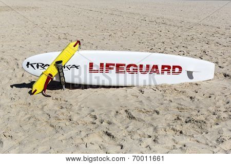 Lifeguard surfboard on Surfers Paradise beach