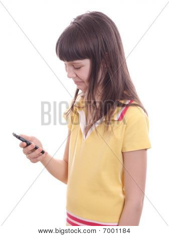The Little Girl With Mobile Phone.