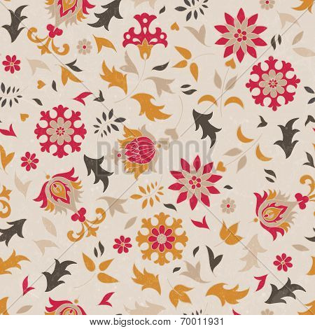 Beautiful seamless pattern with stylized flowers. Vector background.