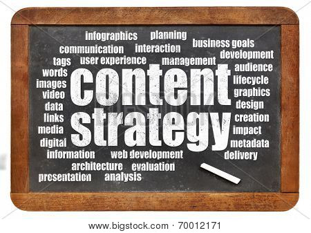 content strategy word cloud on isolated vintage blackboard with a chalk