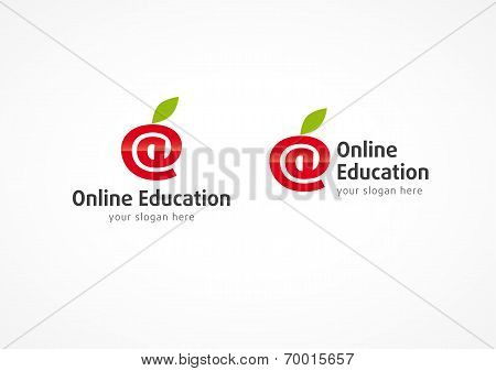 At symbol as Logo in vector for online learning with Internet