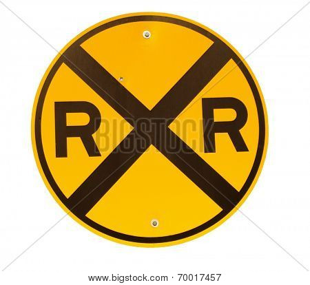 Railroad crossing sign isolated on white
