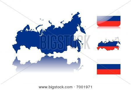 Russian map and flags