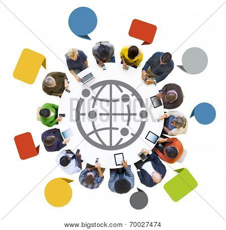 Multiethnic Group of People Using Digital Devices in Connected World
