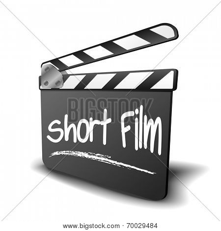 detailed illustration of a clapper board with Short Film term, symbol for film and video genre, eps10 vector