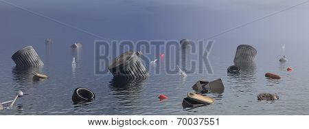 Pollution in the ocean - 3D render