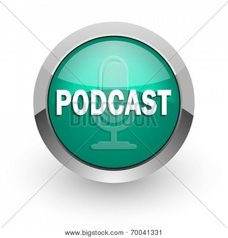 podcast green glossy web icon