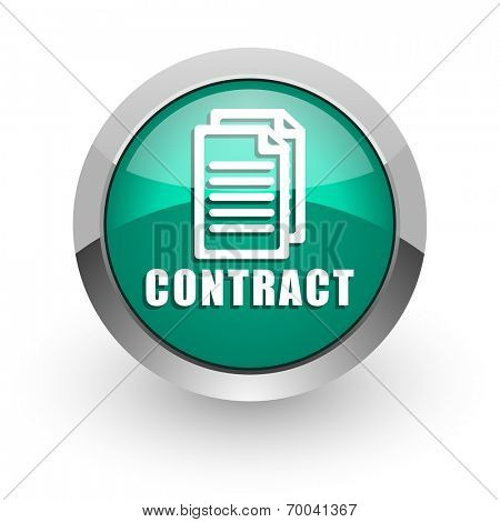 contract green glossy web icon