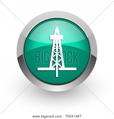 drilling green glossy web icon