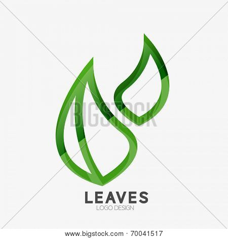 Green eco leaf logo isolated on white, minimal line art