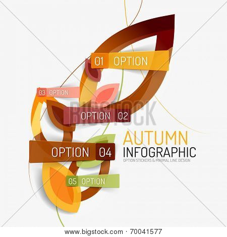 Autumn option banner, infographic minimal design made from line and stickers with options