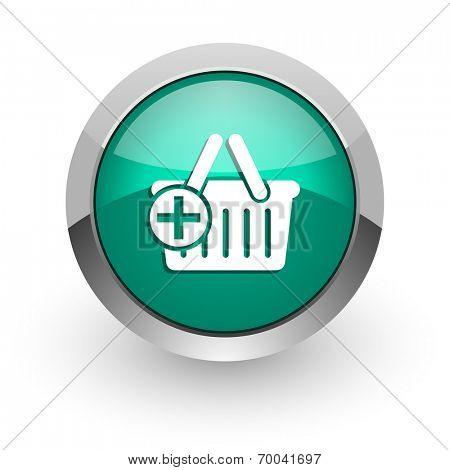 cart green glossy web icon