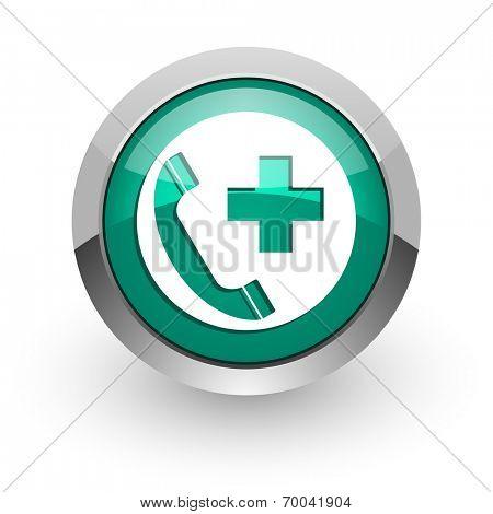 emergency call green glossy web icon
