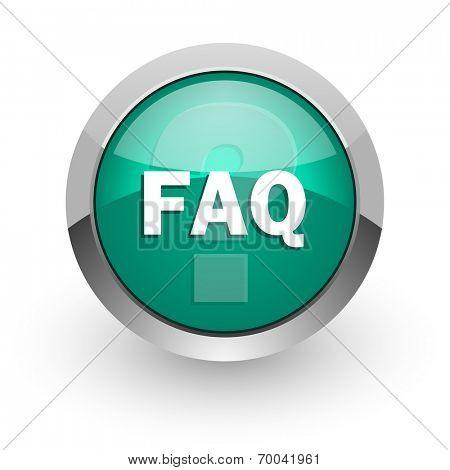 faq green glossy web icon