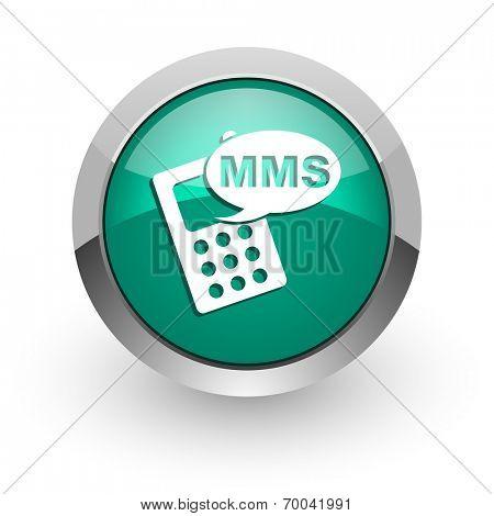 mms green glossy web icon