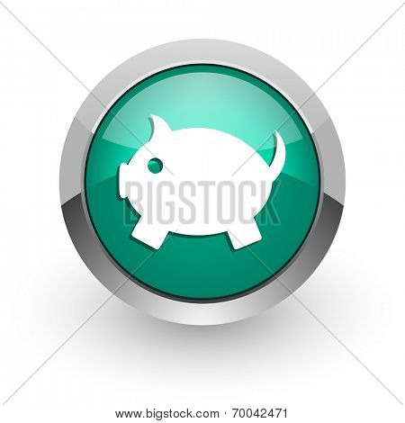 piggy bank green glossy web icon