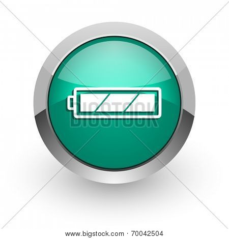 battery green glossy web icon