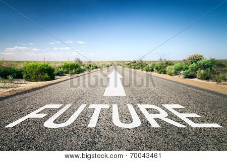An image of a road to the horizon with text future